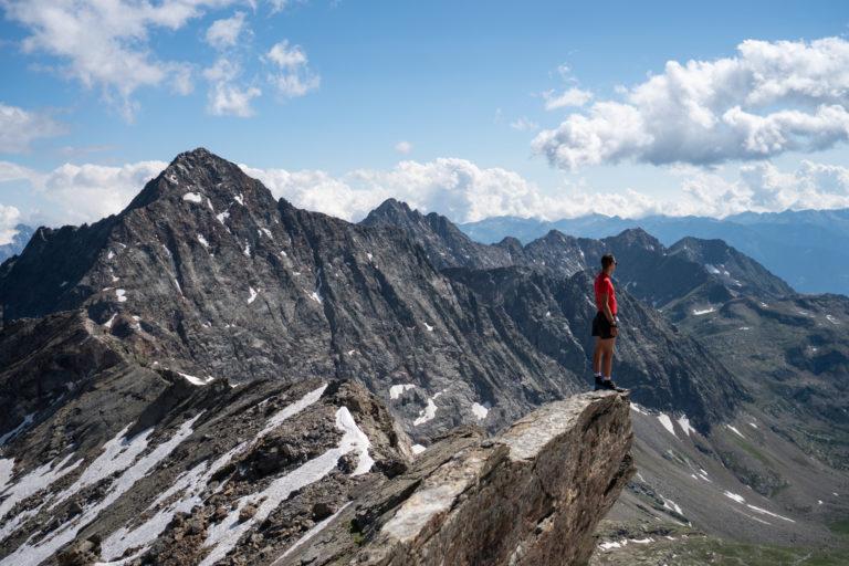 Erstaunlicher Blick auf die Alpen von Pizzo-Scalino.-Valtellina, Lombardei